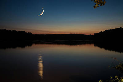 Poster featuring the photograph Crescent Moon Set At Lake Chesdin by Jemmy Archer