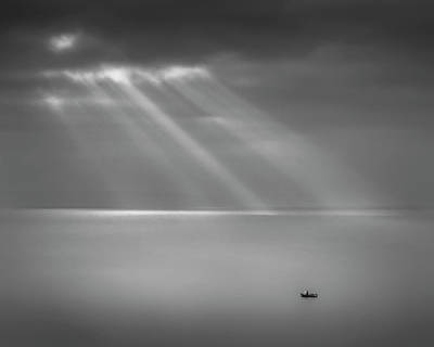 Crespecular Rays Over Bristol Channel Poster by Paul Simon Wheeler Photography