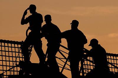 Crewmen Salute The American Flag Poster by Stocktrek Images