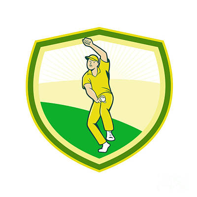 Cricket Player Bowling Crest Cartoon Poster by Aloysius Patrimonio