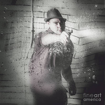 Criminal Underworld Man Shooting Gun Poster by Jorgo Photography - Wall Art Gallery