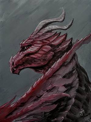Poster featuring the painting Crimson Dragon by Jennifer Hotai