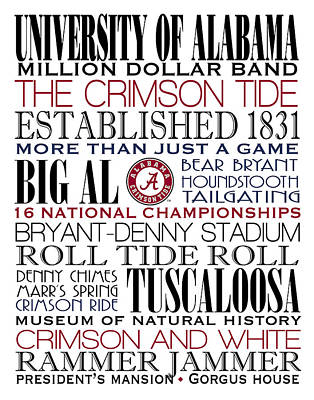 Crimson Tide Champions Poster by Marian Schumer