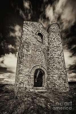 Cripplesease Engine House In Mono  Poster by Rob Hawkins