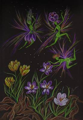 Poster featuring the drawing Crocus by Dawn Fairies