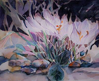Poster featuring the painting Crocuses by Mindy Newman
