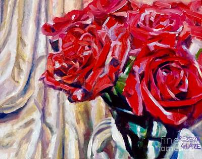 Crimson  Petals Poster by Rebecca Glaze