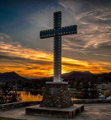 Cross At Lake Junaluska Poster