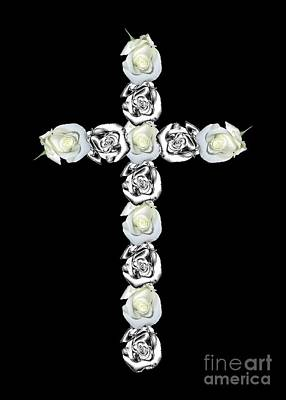 Cross Of Silver And White Roses Poster