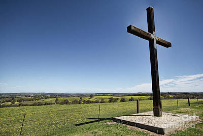 Poster featuring the photograph Cross On The Hill V3 by Douglas Barnard
