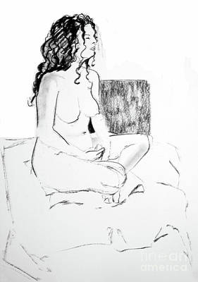 Crossed Legged Nude Poster by Joanne Claxton