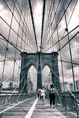Crossing Brooklyn Bridge Poster by Jessica Jenney