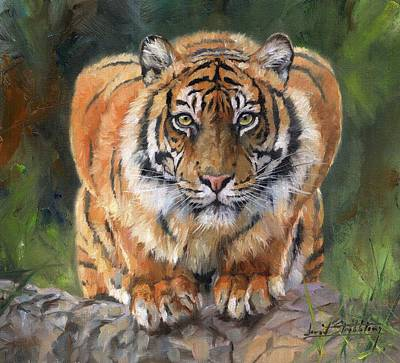 Poster featuring the painting Crouching Tiger by David Stribbling