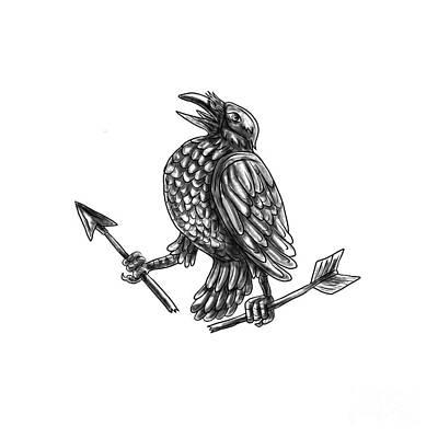 Crow Clutching Broken Arrow Tattoo Poster by Aloysius Patrimonio