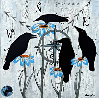 Crow Flowers Poster