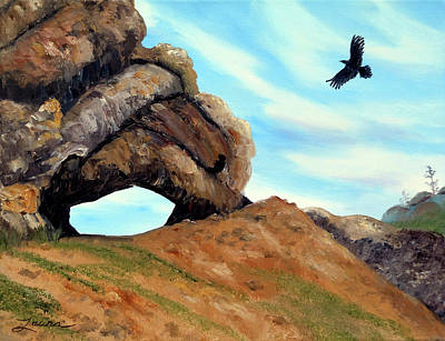 Crow Flying By Window Rock Poster by Laura Iverson