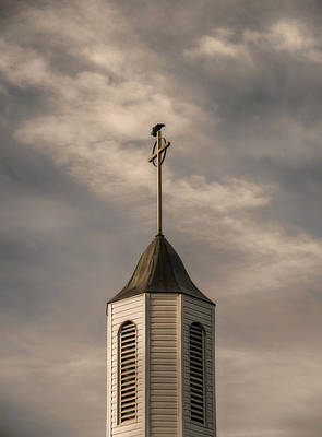 Poster featuring the photograph Crow On Steeple by Richard Rizzo