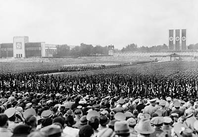 Crowd And Troops At A Massive Nazi Poster
