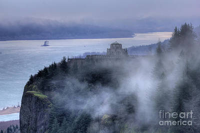 Crown Point Vista House Fog Columbia River Gorge Oregon Poster