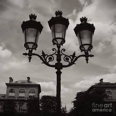 Black And White Paris Poster featuring the photograph Crowned Luminaires In Paris by Carol Groenen