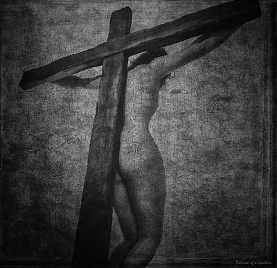 Crucifix In Dark Painting Poster by Ramon Martinez