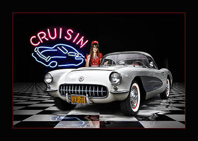 Cruisin' The Diner .... Poster by Rat Rod Studios