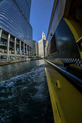Cruising By Trump Tower And The Wrigely Building In Chicago Poster