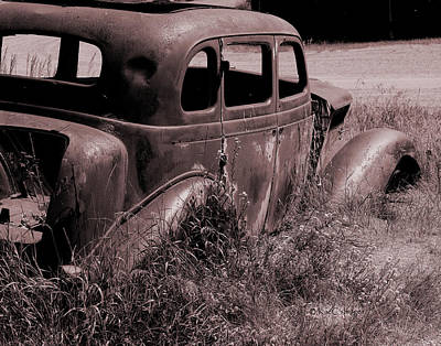 Poster featuring the photograph Crumbling Car by Kae Cheatham
