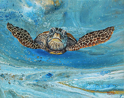Poster featuring the painting Crush The Honu by Darice Machel McGuire