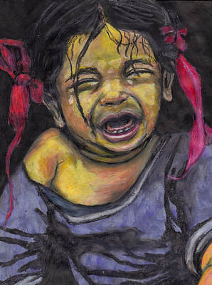 Poster featuring the pastel Cry Baby Cry by Jean Haynes