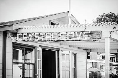 Crystal Cove Sign Black And White Picture Poster
