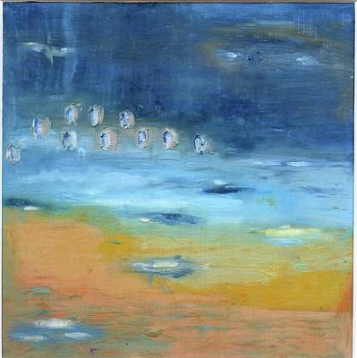 Poster featuring the painting Crystal Deep Waters by Michal Mitak Mahgerefteh