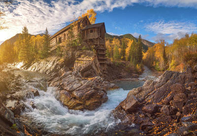 Crystal Mill Fall Sunrise Poster