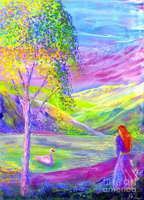 Crystal Pond, Silver Birch Tree And Swan Poster by Jane Small