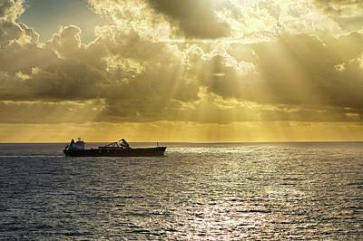 Poster featuring the photograph Csl Spirit At Sunrise - Caribbean Ocean - Seascape - Ship by Jason Politte