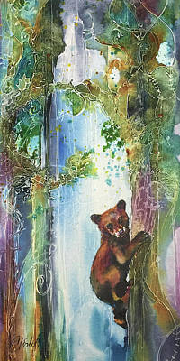 Poster featuring the painting Cub Bear Climbing by Christy Freeman