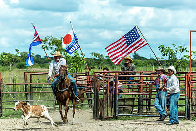 Poster featuring the photograph Cuban Cowboys by Lou Novick