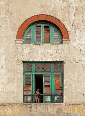 Poster featuring the photograph Cuban Woman On San Pedro Balcony Havana Cuba by Charles Harden