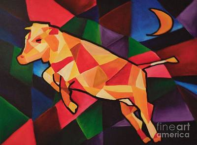 Cubism Cow Poster