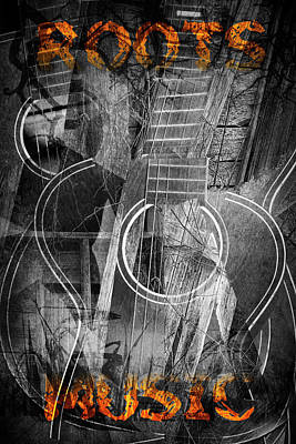 Cubist Guitar With Roots Music Poster