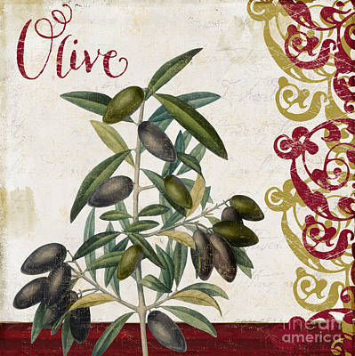 Cucina Italiana Olives Poster by Mindy Sommers