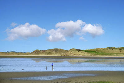 Culleenamore, Strandhill, Sligo - A Man And A Dog Cycle Over The Water To The Dunes On A Sunny Day Poster