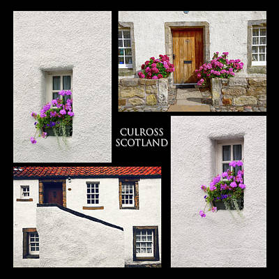 Culross Town Collage. Scotland Poster by Jenny Rainbow