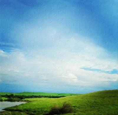 Cultivating Green And Blue Landscape Poster