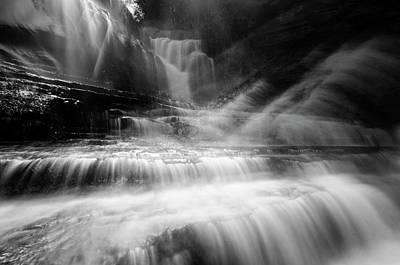 Cummins Falls In Black And White Poster