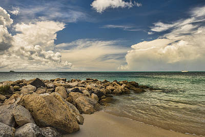 Cumulus Clouds Over Dickenson Bay  St Poster
