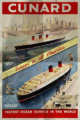 Cunard - Europe To All America - Vintage Poster Folded Poster