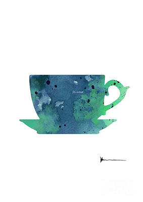 Cup Of Tea Painting Watercolor Art Print Poster by Joanna Szmerdt