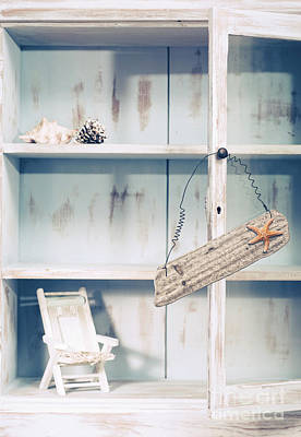 Cupboard With Beach Sign Poster by Amanda Elwell