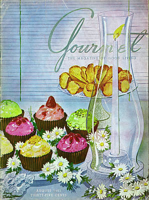 Cupcakes And Gaufrettes Beside A Candle Poster